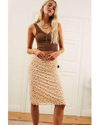Urban Outfitters Uo White Floral Awkward Mesh Midi Skirt