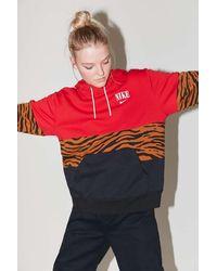 Nike Nike Colorblock Animal Print Hoodie Sweatshirt - Red