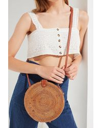23bced1ac3e1 Urban Outfitters - Structured Circle Straw Crossbody Bag - Lyst