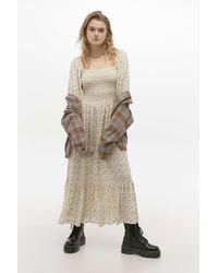 Urban Outfitters Uo Odila Smocked Midi Dress - Multicolour