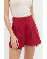 Urban Outfitters Uo Pleated Linen High-waisted Short - Red
