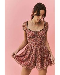 Urban Outfitters Uo Jeni 70s Floral Mesh Playsuit - Red