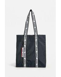 Tommy Hilfiger Logo Tape Nylon Tote Bag - Black