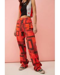 Jaded London Red Abstract Square Print Boyfriend Jeans