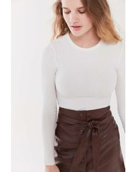 Urban Outfitters - Uo Tyler Ribbed Crew Neck Long Sleeve Top - Lyst
