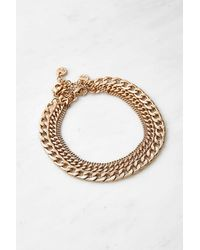Urban Outfitters Double Row Curb Chain Anklet - Metallic