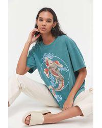 Urban Outfitters Koi Fish Overdyed T-shirt Dress - Blue