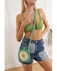 Urban Outfitters Uo Novelty Crochet Crossbody Bag - Green