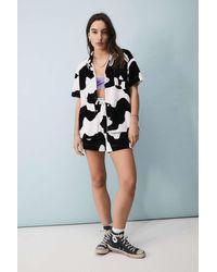 New Girl Order Velour Cow Print Shirt - Black