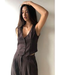 Urban Renewal Urban Outfitters Archive Brown Pinstripe Waistcoat