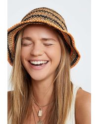 Urban Outfitters Uo Straw Bucket Hat - Womens All - Orange