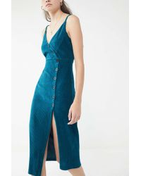 Urban Outfitters - Uo Cassie Ribbed Velvet Button-front Dress - Lyst