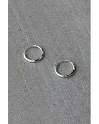 Urban Outfitters Sterling Silver Faceted Mini Hoop Earrings - Metallic