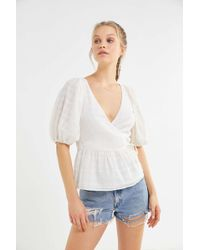 Urban Outfitters - Uo Addison Puff Sleeve Peplum Top - Lyst
