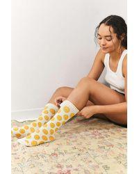 Les Girls, Les Boys Socken in Weiß und Gelb mit Smiley-Print