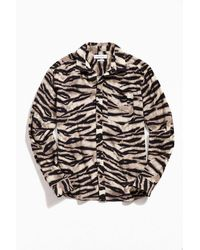 Urban Outfitters Uo Animal Print Flannel Button-down Shirt - Multicolor
