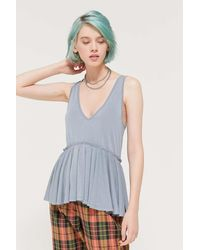 Urban Outfitters Uo Babydoll Tunic Top - Blue