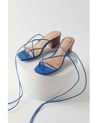 Urban Outfitters Uo Kendal Croc Strappy Heeled Sandal - Blue