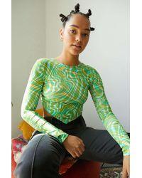 Urban Outfitters Uo Green Swirl Print Hanky Hem Long Sleeve Top