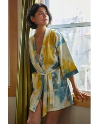 Urban Outfitters Cozy Waffle Knit Robe - Blue