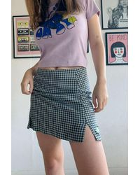 Urban Outfitters Uo Mint Plaid Notch Mini Skirt - Multicolor