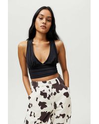 Urban Outfitters Uo Phoenix Plunging Tie-back Tank Top - Black