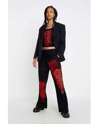 Jaded London Dragon Print Cargo Trousers - Black
