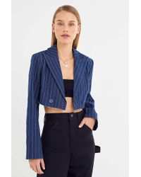 Urban Outfitters Uo Striped Cutoff Cropped Blazer - Blue