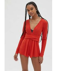 Out From Under Hanna Wrap Front Playsuit - Red