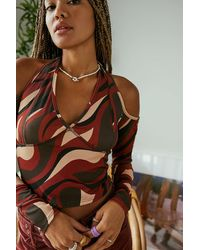 Another Reason Maroon Swirl Cold Shoulder Crop Top - Brown