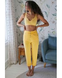 Out From Under Danica Button-front Lounge Pant - Yellow