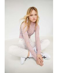 Urban Outfitters Uo Floral Lace Turtleneck Top - Pink