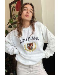 BDG Embroidered Crest Sweatshirt - White