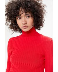 Urban Outfitters Uo Ronnie Ribbed Knit Turtleneck Sweater - Red