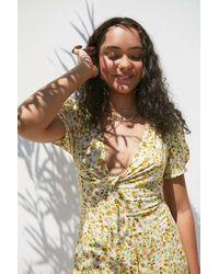 Urban Outfitters Uo Bettie Twist-front Orange Floral Mini Dress