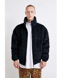 Urban Outfitters Uo Gunmetal Corduroy Puffer Jacket - Blue