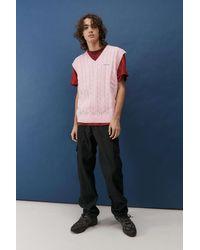 iets frans... Pink Cable Knit Vest