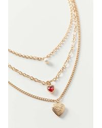 Urban Outfitters Marielle Heart Locket Layer Necklace - Metallic