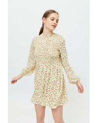 Daisy Street Bella Smocked Bodice Mini Dress - Yellow