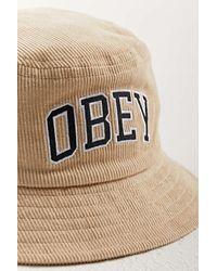 Obey Arch Logo Cord Bucket Hat - White