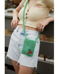 Urban Outfitters Uo Straw Macrame Crossbody Bag - Green