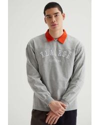X-Large Zip Rugby Shirt - Grey