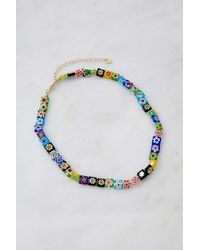 Urban Outfitters Square Bead Choker Necklace - Multicolour