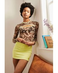 Urban Outfitters Uo Marble Mesh Cutout Top - Brown