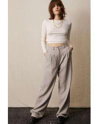 Urban Outfitters Uo Erica Twill Puddle Trousers - Natural