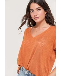 Project Social T Textured-knit V-neck Tee - Orange