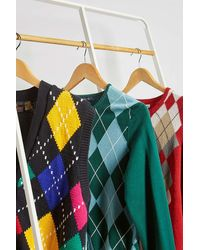 Urban Renewal Vintage Argyle Cardigan - Green