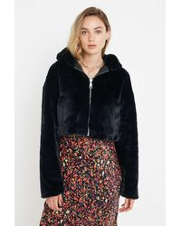 Urban Outfitters Uo Hooded Faux Fur Crop Jacket - Black