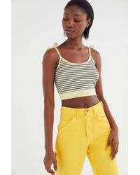 Truly Madly Deeply Striped Tie-shoulder Cropped Cami - Multicolour