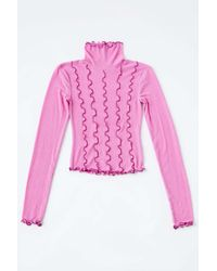 Out From Under Avri Pieced Turtleneck Top - Pink